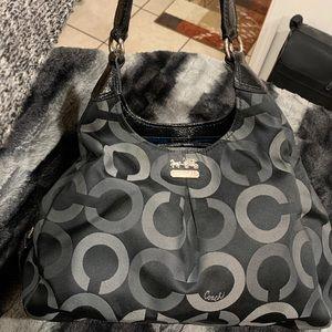 Coach Black Canvas Hobo Shoulder Bag